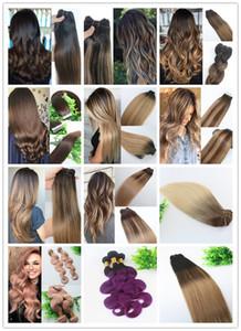 Fasci di capelli umani Balayage 100g 12 pollici tessuti per capelli brasiliani mescolati con riflessi Colore caldo del migliore venditore