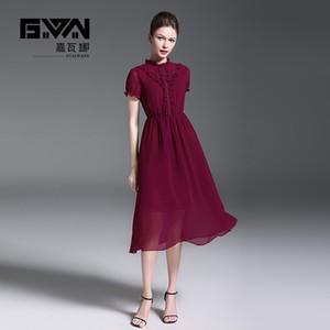 Yeni stil, kısa kollu, dantel kurdele ruffles süsleme, standı yaka, elastik bel, şarap kırmızı şifon elbise. Ofis bayan parti elbiseler