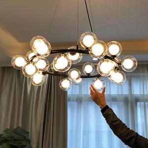 Plafond de lustre LED moderne pour salle à manger salon suspendu lumières bulbe verre lampe lustre landeliers magie haricot moderne pendentif