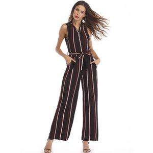 Oficina de las mujeres Jumpsuit sin mangas con cuello en V Rayas High Wasit Vendaje mameluco pierna ancha pantalones largos con bolsillos Bodysuits wy *