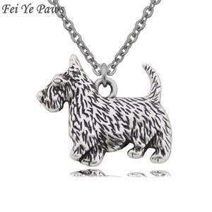 Fei Ye Paws Vintage Chaîne En Acier Inoxydable Aberdeen Terrier Écossais Colliers pendentifs Chien Charms Colliers Pour Femmes Hommes 2018