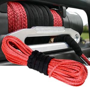 15m * 6mm 1/4 '' x 50 '7000lbs Red Sintetico Winch Rope Cable Line con gancio per ATV UTV Off-Road