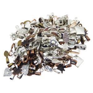 100pcs mélange couleur style cuillère colle sur le bail pour bails boucle d'oreille ou Scrabble et pendentifs en verre breloques connecteur bijoux