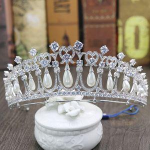 Prinzessin Diana Kronen Braut Diademe Mit Zirkonia Perlen Brautschmuck Mädchen Prom Party Performance Pageant Hochzeit Diademe # BW-JS019