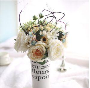 Artificia Silk Rose Bouquet Wedding Flowers Flor nupcial Wedding Party Decoración del hogar Flores falsas