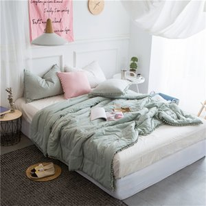 Ins washed cotton bedding set comforters in 3 solid colors decocoration by cute ornamental free shipping