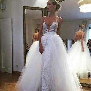 2021 탈착 가능한 스커트가있는 새로운 깊은 V 넥 섹시한 웨딩 드레스 우아한 레이스 얇은 명주 그물 스파게티 스트랩 웨딩 드레스 신부 드레스