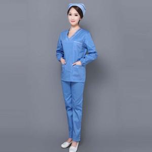 Рабочая одежда с длинным рукавом с V-образным вырезом для женщин