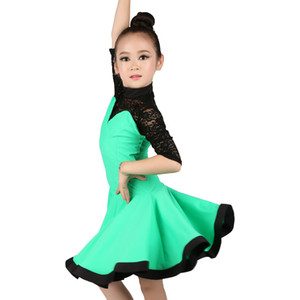 New Half Lace Sleeve Latin Dance Dress Girls Children Kids Rumba Chacha Samba Cowboy Ballroom Dance Dress