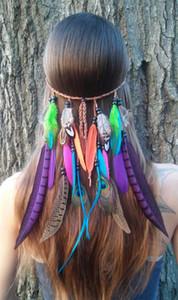 بوهيميا نمط النساء الفتيات الطاووس ريشة عقال الهبي اكسسوارات للشعر النساء الهندي غطاء الرأس أغطية الرأس جديلة الشعر الفرقة رئيس حبل TO413