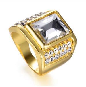 ROMAD льды из хип-хоп кольца Мужчины Женщины из нержавеющей стали Большой Камень геометрические квадратный палец кольцо золотой цвет мужские кольца R4