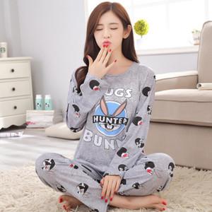Foply Listagem do Novo Foply 2018 Primavera Pijama Mulheres Carton Pijama Bonito Padrão Pijama Set Fino Pijamas Mujer Sleepwear Atacado S1015