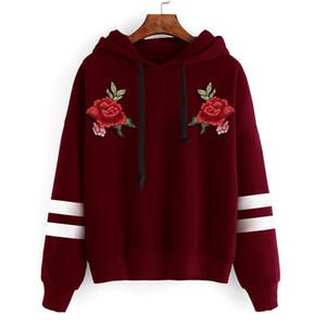 Autumn Stylish Design Long Sleeve Women Hoodies Sweatshirts Hooded Female Jumper Rose Printed Tracksuits Warm Pullover Tops