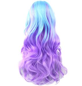 13 colores ondulado de las mujeres cosplay peluca de fibra de alta temperatura sintética postizo de pelo largo Ombre Cosplay