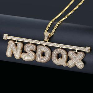 Hip Hop Custom Name Kombination Blase Brief Halskette Micro Zirkonia Gold-Silber-Farben-Buchstabe-hängende Halskette für Männer Frauen