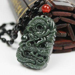 Puro drago naturale della giada intagliata a mano della Cina Collana di drago di buon auspicio del pendente della giada di Hetian Trasporto libero C5