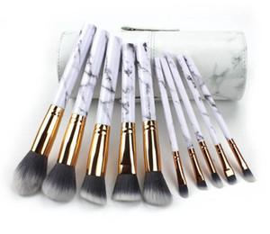 بودرة فرشاة ماكياج 10PCS مجموعة فرش ستوديو حامل أنبوب أدوات التجميل مؤسسة ظلال العيون الشحن المجاني