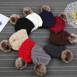 9 color kids Beanie Baby Toddler Winter Knitted Beanie Fashion Slouchy Caps Outdoor Hats Knit Fur Pompom Hat KKA5936