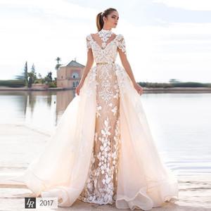 Graceful Mermaid Lace Wedding Dresses With Detachable Train Lace Appliqued Backless Bridal Gowns Trumpet Tulle Sweep Train vestido de novia