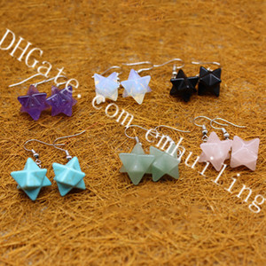 10 pares Natural Piedra Semi Preciosa Curación Cristal Chakra Merkaba Star Star Pendientes para Mujeres Sagradas Geometría Star Tetrahedron Joyas judías