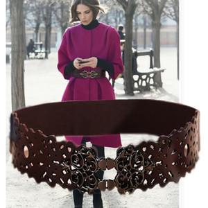 Moda para mujer de cuero genuino doble hebilla elástica cintura cinturón ancho estiramiento corsé cintura