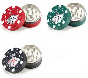3 strati 2layer Poker Chip Style Herb Tabacco Grinder Erbe Grinders Smoking Pipe Accessori gadget Rosso Verde Nero