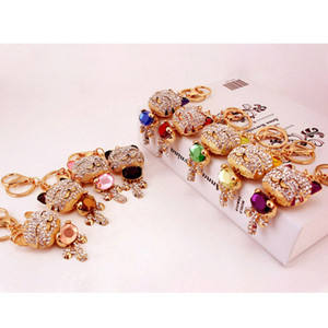 Free Shipping New Design Crystal Lovely  Fortune Big Cat Keychain Keyring Bag Purse Charm gift Real Gold Plated ,Alloy key Chain Key holder
