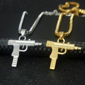 Personnalité De La Mode Hip Hop Uzi Gun Colliers Pendentifs Chaîne En Or Collier pour Hommes Femmes Partie Accessoires