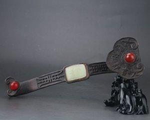 Chinês Collectibles Pure Ruper Mão-Esculpida Ruyi Estátua NR