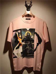 2018 Mens t shirts fashion Deer girl teeth Joining together Printing Tees Shirt Short Sleeve pink Blouse t shirt