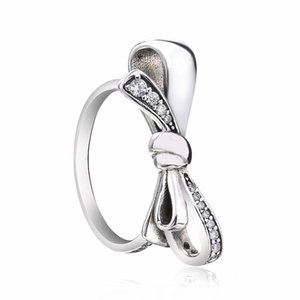 ZTUNNG PDS3R 925 Sterling Silver Finger Trendy Bowknot 4 Size Wedding Rings for Women Engagement Jewelry Y18102510