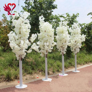 1.5M 5feet Height white Artificial Cherry Spring Plum Peach Blossom Flower Tree Roman Column Road Cited For Wedding Mall Opened Props
