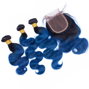 Dark Root Body Wave Wavy Human Hair Weaves With Lace Closure Blue Ombre Hair Extensions 3 Bundles With Lace Closure 4Pcs Lot