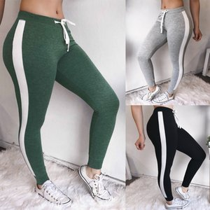 Womens White Striped Sides Leggings de sport souple Workout Yoga Casual Mid taille taille pantalons élastiques 2018