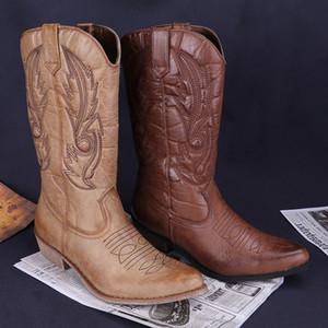 HZXINLIVE Vintage occidentales botas de vaquero para las mujeres del dedo del pie puntiagudo Classic Leather Cowgirl Boots plaza zapatos de los tacones Rodilla