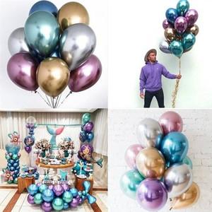 5PCS cores Glossy metal Pérola Latex Balões Popular Grosso Chrome metálicas Decor aniversário ar inflável Balões Globos Metálicos partido
