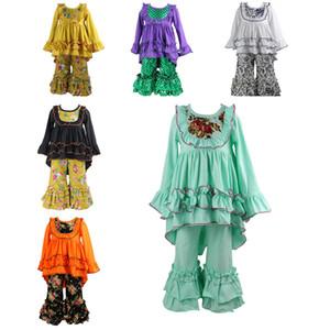 Joliment 2018 automne filles robes boutique vêtements ensembles bébé mode enfants les manches longues en dentelle tops à volants pantalons floraux vêtements pour enfants