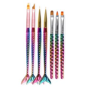 7 Estilo Gradiente Nail Art Pintura Liner Brush Sirena Mango UV Gel Polish 3D French Tips Escultura Dibujo Pluma Herramientas de Manicura