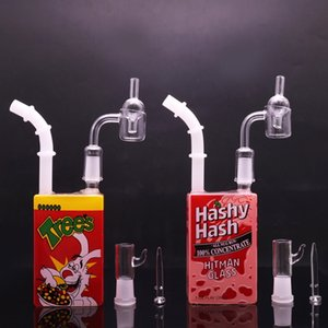 Hitman Water Pipe Glass Juice Box 7.5 pulgadas Glass Bong 14 mm Bubbler Pipe con cuarzo Banger uñas Carb Cap Dab Oil Rigs