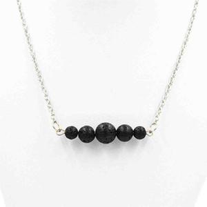 Новая Природа Black Lava Stone Эфирное масло Духи Диффузор ожерелье Бар Йога Ароматерапия Воротник Ожерелье