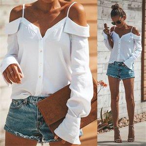 Tops Womens ve Bluzlar Sonbahar Uzun Kollu Gömlek Kadınlar Seksi V Yaka Off Omuz Üst Düğme Bluz Streetwear