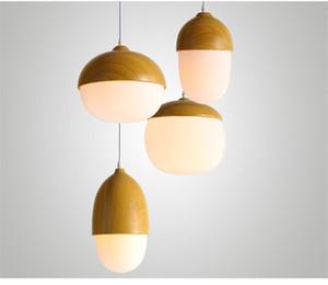 Criativo Nozes Cord Pingente Lâmpada Imitação De Madeira Pendurado Luz Casa Pingente de Luz Decorativa para Bar / Café / Quarto Luminária