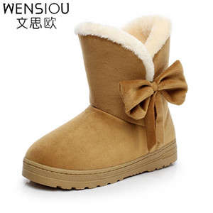 2018 new fashion style female footwear solid color women winter snow boots bowtie woman warm boot zapatillas casual shoes KT905