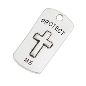 Fashion Dog Tag Charms Protect Me Alloy Cross Charms Be Still And Know That I Am God Message Charms 50pcs lot AAC1275