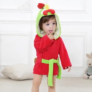 귀여운 재미 있은 어린이 만화 동물 모델 목욕 가운 코 튼 베이비 목욕 타월 귀 모자와 함께 망 토 아이를 흡수 하 게 후드 목욕 가운 0-2T