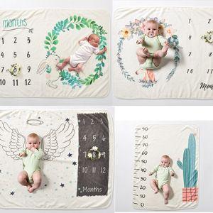 INS enfants aile Licorne imprimer Couvertures photographie fond accessoires nourrisson Swaddling fleur numérique bébé nouveau-né s'enroule 70 * 102cmC4432
