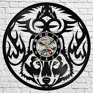 Wolf vinyl wall clock modern home decor crafts creative gift office decoration clock (size: 12 inche, color: black)