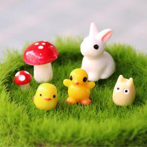 Cartoon Cute Moss Micro Landscape Ornaments Small Ears Mini Animal Sitting Silenziosa resina Coniglio Giardinaggio Artigianato Decorazione Accessori