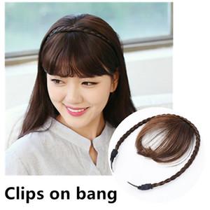 Clips en calor fibras sintéticas resistentes a explosiones del pelo trenzado flecos de pelo de las mujeres extensiones de cabello