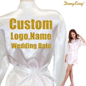Özel LOGO Kısa Stil Elbiseler Gelin Parti Kimono Robe Kişiselleştir Düğün Altın Glitter Saten Robes yazdır